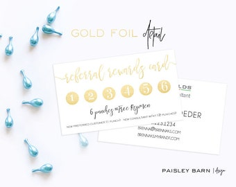 Referral Rewards Punch Card Gold Foil | skincare, business, marketing, printed, skincare tool, personalized, direct sales, Rodan, Fields