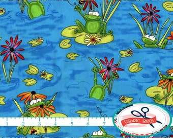 FUN FROG Fabric by the Yard, Fat Quarter Happy Frogs Fabric Green & Blue Fabric 100% Cotton Fabric Boy Quilting Fabric Apparel Fabric t3-23