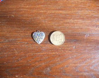 Small pastel milleflori heart pendant or earring
