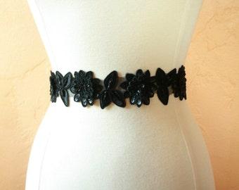 Black Lace Beaded Bridal or Bridesmaid Sash