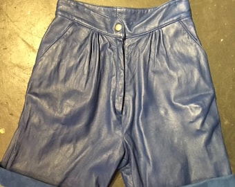 Electric Blue Leather Shorts