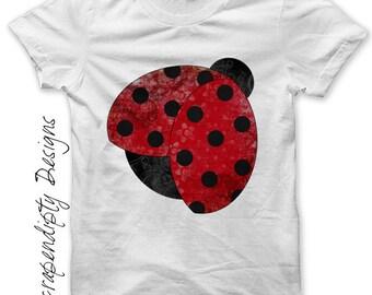Iron on Ladybug Shirt - Garden Iron on Transfer / Kids Girls Clothing Tops / Baby Shower Gift / Ladybug Birthday / Toddler Clothes Tee IT201