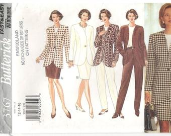 Butterick 3767 Size 12, 14, 16. Womens long sleeve top, princess seam jacket / blazer, skirt and pants suit sewing pattern.  Work wardrobe