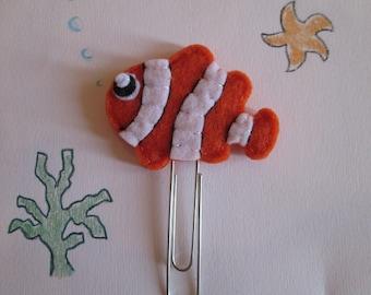 Fish  paper clip - Clown fish paper clip - Nemo Felt paper clip - Summer Planner accessories -  Planner clip - Bookmark -