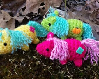 Bitty Pony - crochet little ponies - amigurumi pony - baby pony - crochet horses miniature horse mini pony toy stuffed ponies pink pony