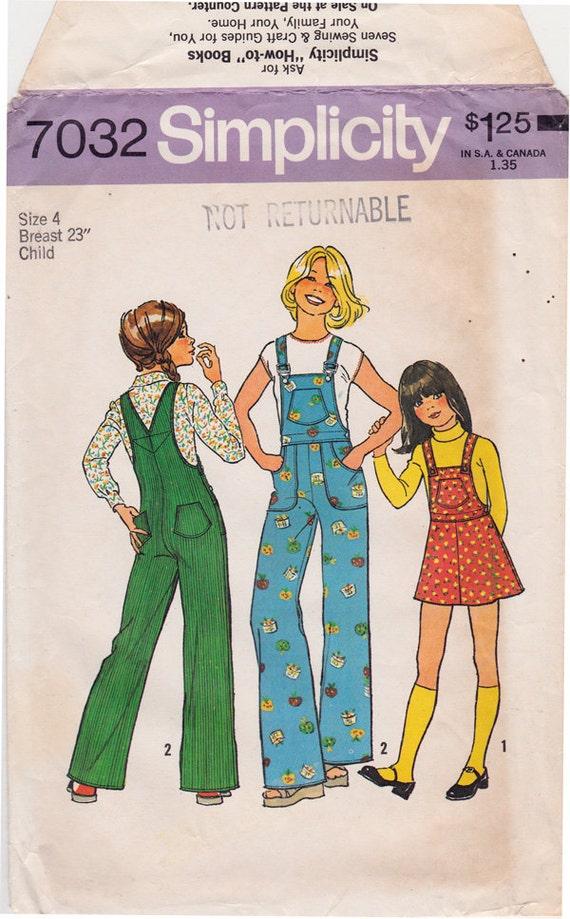 FF 70s Vintage Girls Bib Overalls & Jumper Vintage Sewing Pattern ...