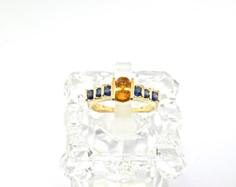 14k Gold, Sapphire And Citrine Ring. Size 6.25
