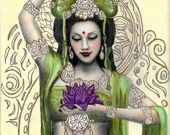 Kuan Yin : Goddess of Compassion and Mercy, High Quality Print, Original Drawing *Print*, Wall Art Decor