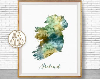 Map painting etsy ireland map art ireland print watercolor map map painting map artwork office decorations country map artprintzone gumiabroncs Image collections