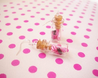 Pink candy jar earrings