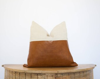 18X18 Cream Linen and Faux Leather Pillow Cover