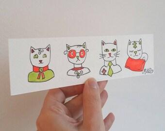 Bookmark cat cat cat illustration, readers, gift for Grandma gift, love book, cat art, cat painting