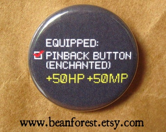 "equipped enchanted button video game pins gamer gifts 1.25"" badge skyrim fallout 4 dota 2 rpg geekery jewelry minecraft xp jrpg persona pin"