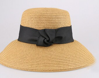 Extra Wide Brim Crocheted Straw Packable Travel Hat Straw hat