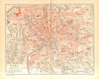 1897 Original Antique City Map of Rome, Italy
