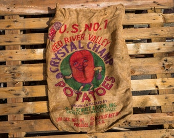Crystal Champ Potato Sack Vintage Burlap Bag