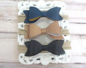 Navy Blue Bronze Black Baby Headband Set, Newborn Headbands, Nylon Headband, Stretch Headband , Baby Bows, Girls Hair Bows, Mini Bows