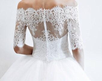 wedding dress quarter sleeves  Florence, classic  wedding dress off shoulder