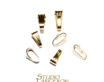 14K Solid gold Snap-On Small 5.2*2.0 mm pendant Bail, Solid gold snap on Bail, Bail gold 14K, Bail findings, Gold Pendant bail - 1 piece