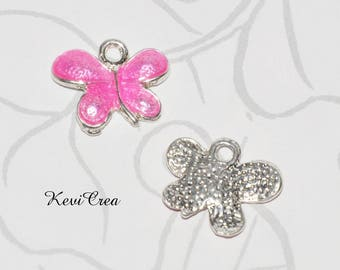 Butterfly pink enameled metal charms 2pcs silver