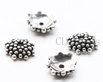 4pcs Daisy Oxidized  Sterling Silver Caps - 8mm