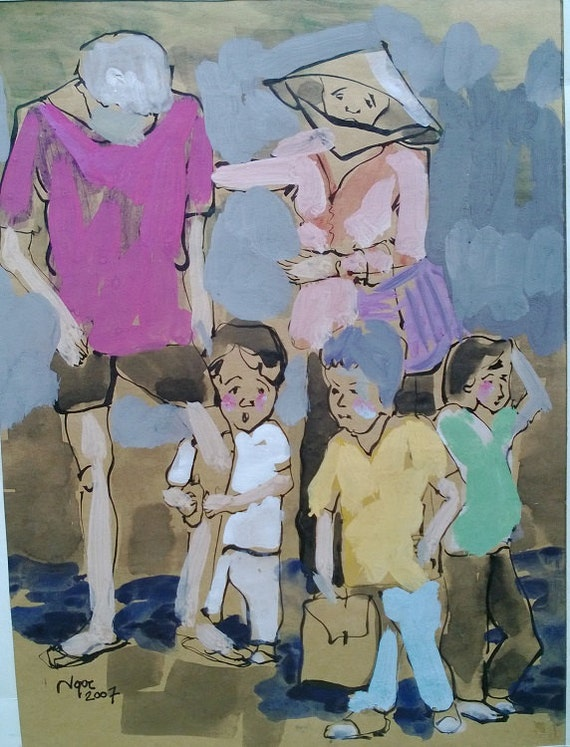 """CAN THO STREETS 9x12.5"""" gouache on paper, live painting, Cần Thơ Province, original by Nguyen Ly Phuong Ngoc"""