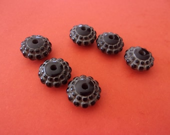 """Black acrylic beads in the shape of """"pillow"""" - 1.5 cm"""