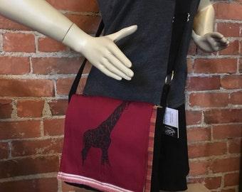 Giraffe Messenger Bag Red Black 10 x 10