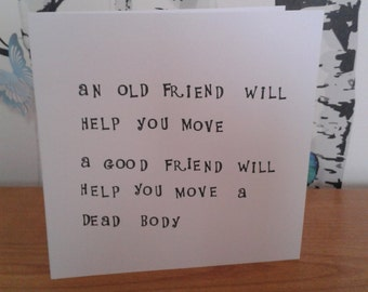 Friend Card, Best Friend Card, Funny Card, Stamped Card, Greeting Card, Birthday Card