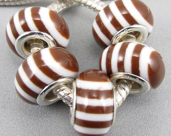 Large Hole Charm Beads fit European Style Charm Bracelets and Necklaces, Brown and White Stripes Big Hole Beads, Lightweight Acrylic Beads