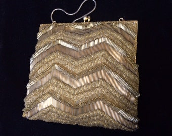 Price now reduced!  WALBORG Vintage 1960's Richere Gold 3d Zig Zag Beaded Evening Bag Made in Hong Kong