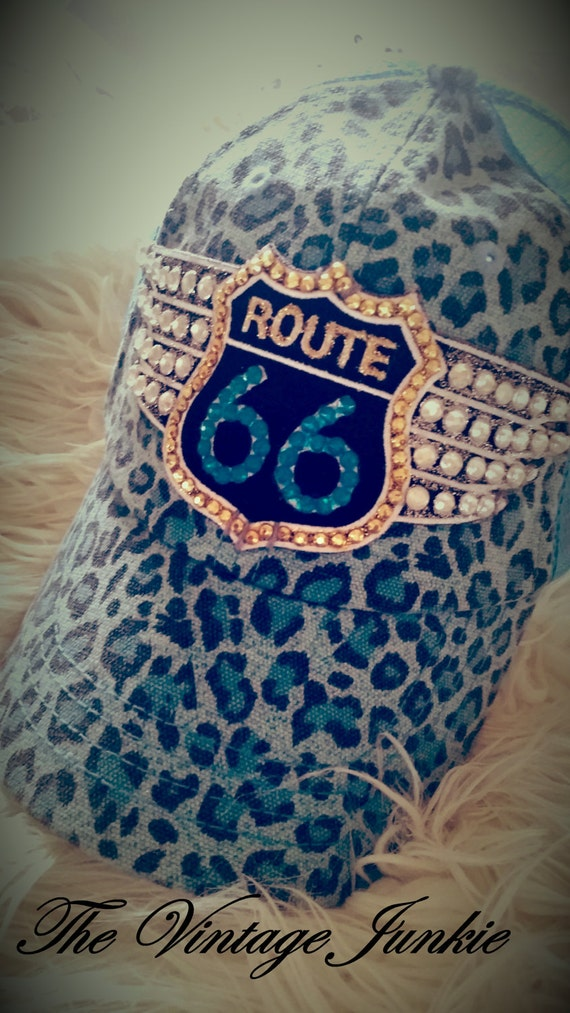 The Vintage Junkie...Tricked Out Blue Cheetah Print Ball Cap with Swarovski Crystals and Route 66 Applique