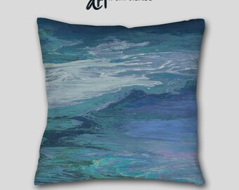 Teal Navy Blue Throw pillow, Cover Case, Accent, Abstract art, Large sofa cushion, Couch, Decorative