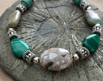 Multi-Stone Malachite, Turquoise, Jasper & Sterling Silver Stone Bracelet