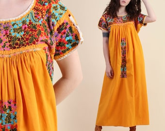 vintage 70s HEAVILY EMBROIDERED floral yellow mexican dress L XL / marigold oaxacan hippie boho maxi dress 1970s large or extra large