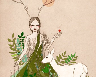 Deluxe Edition Print Original illustration Woodland  deer girl Mori Girl