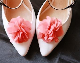 Wedding Shoe Clips Bridal Shoe Clips - Rustic Wedding Boho Wedding Bridal Engagement Party Bride Bridesmaid - Coral Pink Chiffon Flowers