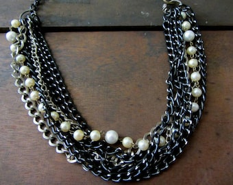 Pearls and Black multi strand statement necklace, Metal and Pearls necklace, Metal chain multi stand necklace