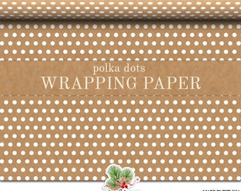 Wrapping Paper | White Polka Dots On Kraft Matte Gift Wrap | Back Of Wrapping Paper Is White | Two Sizes 9 Feet Or 18 Feet In Length
