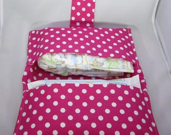 Pink and White Polka Dot Diaper and Wipe Wallet