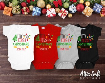 My First Christmas Bodysuit, Personalized, New Baby, Baby Boy Christmas, Baby Girl Christmas, Gender Neutral, Short or Long Sleeve