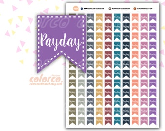 PAYDAY stickers  FLAG Printable Planner Stickers Erin Condren Happy Planner Inkwell Plum Paper Instant Digital Download