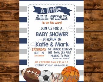 Sports Baby Shower Invitation, Football Baseball Soccer Basketball Baby Shower Invite, All Star Sports DIY Baby Shower Printable Invitation