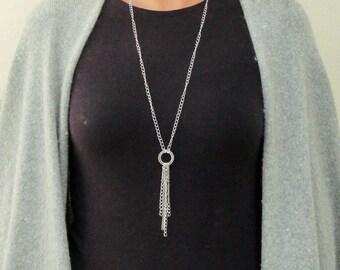 Silver Tassel Necklace, Silver Chain Tassel Necklace, Ring Tassel Necklace, Circle Necklace, Long Tassel Necklace Simple, Chain Tassels