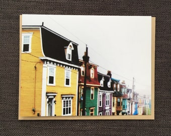Painted Houses Foggy Day / Notecard / Blank Inside / FREE SHIPPING