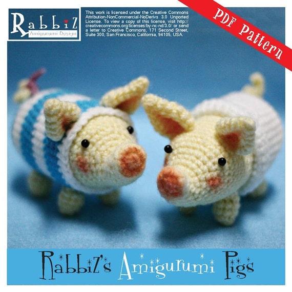 PDF Pattern Amigurumi Poogie Pigs Set of Two