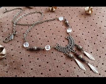 Crystal quartz, garnets - Ellaria Sand necklace