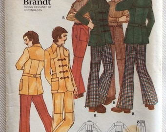 Butterick Pattern 6464-Margit Brandt Design Yoked Jacket w/Pointed Collar, Patch Pockets & Toggle Close and Low Waist Yoked Fit/Flared Pants