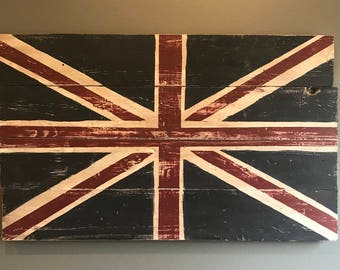 Union Jack Flag Wood Sign, Inspirational Wall Art, Handprinted Wood Sign, Rustic Wood Sign, Farmhouse Décor, Wall Art