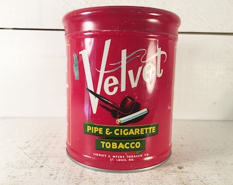 Velvet Pipe and Cigarette Tobacco Vintage Tin from Liggett & Myers Tobacco Co. St. Louis, MO./Farmhouse Kitchen Collectible Tobacco Tin